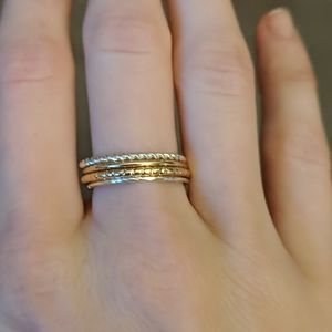 Stackable size 7 silver and gold ring set
